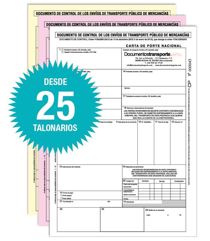 Pack 25 Talonarios Carta de Porte Nacional Autocopiativos An/ónimos Acordes a la legislaci/ón de Transporte vigente